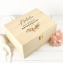 "Personalised Colour Printed ""Will you be my Bridesmaid?"" Proposal Wooden Gift Boxes"