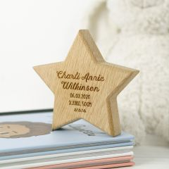 Personalised Engraved Wooden Star Keepsake Birthday Gift