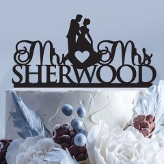 Personalised Laser cut Mr & Mrs Surname bride and groom silhouette acrylic cake topper