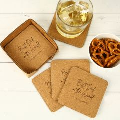 Personalised Engraved Father's Day Engraved Set of 6 Square Cork Coasters Present