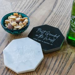 Personalised Engraved Father's Day Octagon Black or White Marble Coasters Present