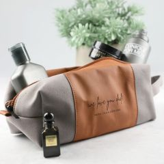 Personalised Engraved Father's Day Tan Leather Toiletry Bag Present