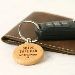 Personalised Engraved Father's Day Wooden Round Car Keyring Organiser Present