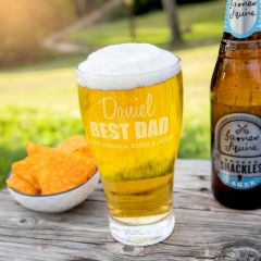 Personalised Engraved Father's Day 425ml Schooner Pint Beer Glass Present