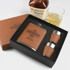 Personalised Engraved Father's Day Brown Leather Bound Hip flask, shot glasses and Presentation Box