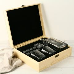 Personalised Engraved Father's Day Wooden Gift Boxed Decanter, Scotch Glasses and Whiskey Stone Set