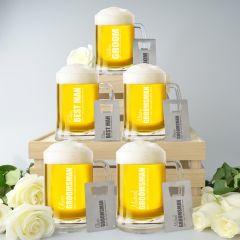 Personalised Engraved 5x Groom, Best Man, Groomsman Beer Glass Stein Mugs and Credit card Bottle Opener