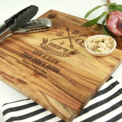 Personalised Engraved Deluxe Father's Day Square Chopping Board Present