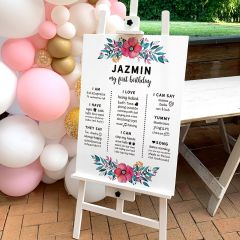 UV Printed Personalised First Birthday Milestone Sign