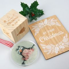 Personalised First Christmas Hamper with Baby Block, Milestone Cards and photo Printed Acrylic Bauble Christmas Decoration