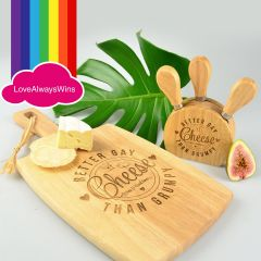 "Personalised Engraved Matching Sam Sex Wedding Chopping Paddle Board & Cheese knife block set- ""Better Gay than Grumpy"""