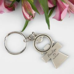 Personalised Engraved Baby Girl Christening, Naming Day, Baptism Bottle Opener Keyring Favour