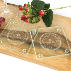 Personalised Engraved Corporate Christmas Glass Coasters Client Gift