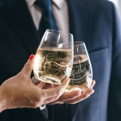 Customised Engraved Godmother & Godfather Stemless Wine Glass Present