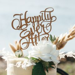 Laser Cut Wooden Happily Ever After Wedding Reception Cake Topper
