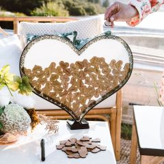 Laser cut Wooden Heart shapes in heart shaped Wedding Guest Book