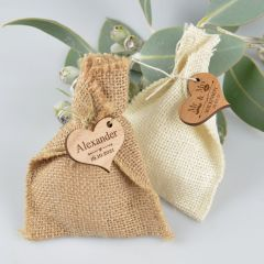 Light and Dark Hessian Wedding favours Bags with Personalised engraved Wooden Gift Tag