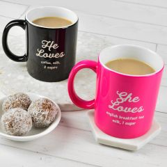 Personalised Engraved Black and pink Coffee Mugs Valentine's gifts
