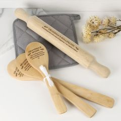 Personalised Engraved Mother's Day 'Kitchen Queen' Hamper- rolling pin and 3 piece wooden spoon set