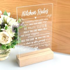 personalised Engraved Mother's Day Kitchen Rule Acrylic Sign Present