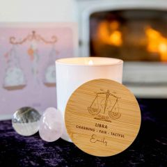 Personalised Engraved Wooden Lid Zodiac Soy Candle Libra with Wood Wick