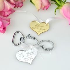 Naming Day, Baby Shower, Baptism Christening Infinity Bottle Opener with Personalised Engraved Gold and Silver Acrylic Gift Tag