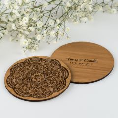 Engraved wooden mandala coaster for wedding