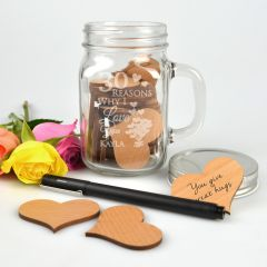 "Personalised Engraved ""30 reasons why I love you"" Mason Jar with 30 laser cut Wooden Hearts inside present"