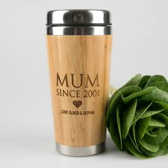 Personalised Engraved Sustainable Bamboo Travel Mug Mother's Day Present