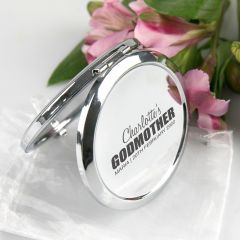 Personalised Engraved Godmother Silver Compact Mirror Present