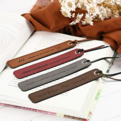 Personalised Engraved Brown, Red, Grey and Tan Leather Bookmarks for Mother's Day Gift