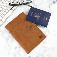 Personalised Engraved Mother's Day Engraved Tan Leatherette Passport Holder