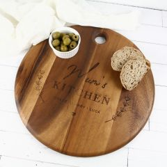 Personalised Engraved Round Wooden Mother's Day Cheese Chopping Serving Board Present