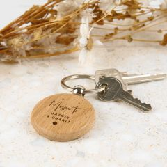 Personalised Engraved Round Wooden Mother's Day Keyring Present