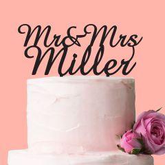 Mr & Mrs Black Acrylic Wedding Cake Topper