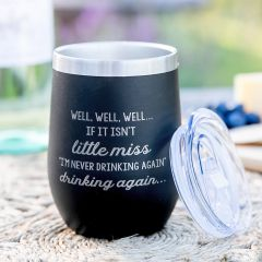 Personalised Engraved little Miss Ill Never Drink Again Funny Inappropriate Black Stemless Wine Sipper