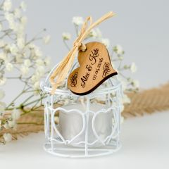 Rustic Birdcage Tealight Candle With Wooden Gift Tag Wedding Favour