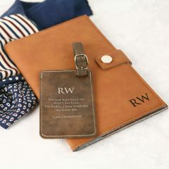 Personalised Engraved Father's Day Leather Passport Holder & Luggage Tag