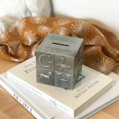 Personalised Engraved Pewter Alphabet Cube Money Box Present