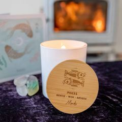 Personalised Engraved Wooden Lid Zodiac Soy Candle Pisces with Wood Wick