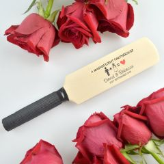 Custom Designed Colour Printed Wooden Groom, Groomsmen & Best Man Mini Cricket Bat Wedding Favour Gift