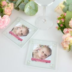 Birth Announcement Printed Glass Coaster