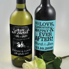 Custom Designed Full Colour Printed Wedding Wine Labels