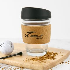 Engraved Promotional Cork Band Reusable Glass Coffee Keep Cup