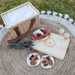 Personalised Rectangle Cooler Picnic Basket with Engraved Wooden Lid