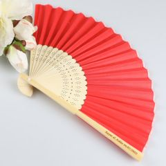 Personalised Engraved Wooden Red Wedding Bomboniere Fan