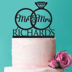 Personalised Black Acrylic Mr & Mrs Surname wedding rings Acrylic Cake Topper