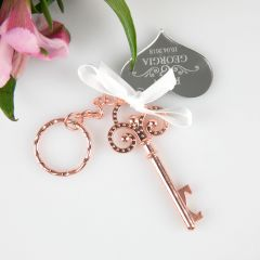 Rose Gold Key Keyring with Personalised Engraved Gift Tag