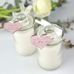 Personalised scented candle with rose gold gift tag for wedding