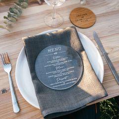 Personalised Engraved Round Clear Acrylic Wedding Menu
